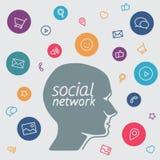 Favori de media social de négociant de programme dans les icônes de forme Photographie stock
