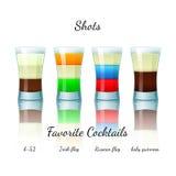 Favoriete geschotene geplaatste cocktails, geïsoleerd Stock Afbeelding