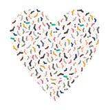 Favoriete sokken Vector leuk patroon met een verscheidenheid van sokken op een hartachtergrond Stock Foto's