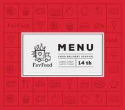 Favoriete Voedsellevering Abstract Vectorlogo and menu cover met het Pictogrampatroon van de Lijnstijl Stock Afbeelding