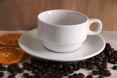 Favorit- kopp och tefat, kaffeb?nor och torkade orange cirklar arkivbilder