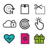 Favorit- symbol slå hjärtasymbolet Närvarande asksymbol Markörklicktecken 24h öppnar och fördunklar säkerhetssymboler Arkivbild