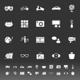 Favorit und wie Ikonen auf grauem Hintergrund Stockbilder