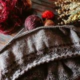 Favorit- vinterpasserandetid Sticka en varm tröja arkivbilder