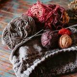 Favorit- vinterpasserandetid Sticka en varm tröja royaltyfri bild