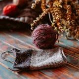 Favorit- vinterpasserandetid Sticka en varm tröja arkivfoto
