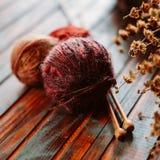 Favorit- vinterpasserandetid Sticka en varm tröja royaltyfri foto