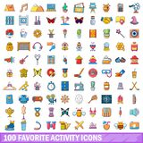 100 favorite activity icons set, cartoon style. 100 favorite activity icons set in cartoon style for any design vector illustration Stock Images