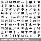 100 favorite activity icons set, simple style Stock Image