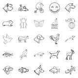 Favorite animal icons set, outline style. Favorite animal icons set. Outline set of 25 favorite animal vector icons for web isolated on white background Royalty Free Stock Images