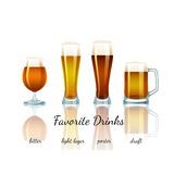 Favorite beer set, isolated Royalty Free Stock Photography