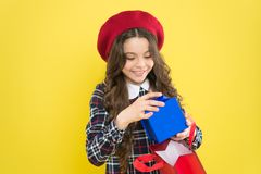 Favorite brands hottest trends. Girl with shopping bag. Explore fashion industry. Shopping and purchase. Black friday. Sale discount. Shopping day. Little stock images