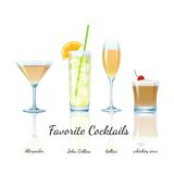 Favorite cocktails set, isolated Stock Photography