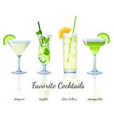 Favorite cocktails set, isolated Stock Image