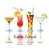 Favorite cocktails set, isolated Royalty Free Stock Images