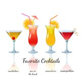 Favorite cocktails set, isolated Royalty Free Stock Photography