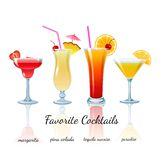 Favorite cocktails set, isolated Royalty Free Stock Image