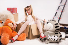 Favorite doll. Pretty blonde dressed up as a doll Royalty Free Stock Photography