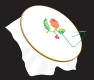 Favorite embroidery on the tambour Royalty Free Stock Images