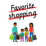 Favorite Family Shopping Process Icon on White Stock Photography