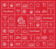 Favorite Food Delivery Abstract Vector Logo. Integrated Into the Line Style Icon Pattern. Good for Restaurant or Fast Food, etc stock illustration