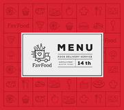 Favorite Food Delivery Abstract Vector Logo And Menu Cover with Line Style Icon Pattern. Stock Image