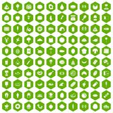 100 favorite food icons hexagon green. 100 favorite food icons set in green hexagon isolated vector illustration royalty free illustration
