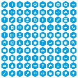 100 favorite food icons set blue. 100 favorite food icons set in blue hexagon isolated vector illustration royalty free illustration