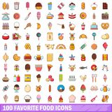 100 favorite food icons set, cartoon style. 100 favorite food icons set in cartoon style for any design vector illustration Stock Photos