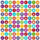 100 favorite food icons set color. 100 favorite food icons set in different colors circle isolated vector illustration royalty free illustration
