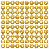 100 favorite food icons set gold. 100 favorite food icons set in gold circle isolated on white vectr illustration Royalty Free Stock Photography