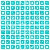 100 favorite food icons set grunge blue. 100 favorite food icons set in grunge style blue color isolated on white background vector illustration vector illustration