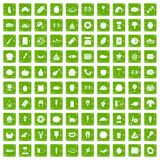 100 favorite food icons set grunge green. 100 favorite food icons set in grunge style green color isolated on white background vector illustration Stock Photography