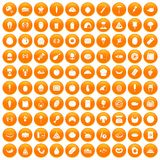 100 favorite food icons set orange. 100 favorite food icons set in orange circle isolated vector illustration Stock Images