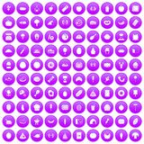 100 favorite food icons set purple. 100 favorite food icons set in purple circle isolated vector illustration Royalty Free Stock Images