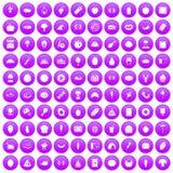 100 favorite food icons set purple. 100 favorite food icons set in purple circle isolated vector illustration Stock Illustration