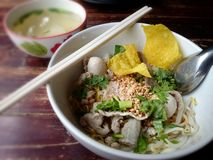 Favorite food, thai noodle. Thai tomyum noodle is most favorite thai food royalty free stock images