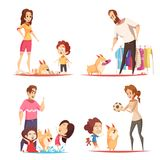 Favorite Puppy Design Concept. Family with favorite puppy during game, pranks with toilet paper and water, design concept isolated vector illustration stock illustration