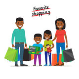 Favorite Shopping. Family Makes Purchases at Mall. Favorite shopping conceptual banner. African family father, mother daughter and son stands and holds a lot of Royalty Free Stock Photos