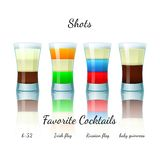 Favorite shot cocktails set, isolated Stock Image