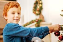 Charming ginger kid enjoying christmas preparation Stock Photography