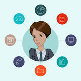 Favorite tools for working managers and business. Infographic about office work - cloud computing and sharing documents Stock Image