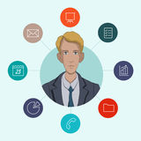 Favorite tools for working managers and business. Infographic about office work - cloud computing and sharing documents Royalty Free Stock Image
