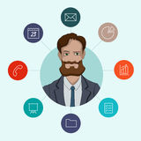 Favorite tools for working managers and business. Infographic about office work - cloud computing and sharing documents Royalty Free Stock Photo
