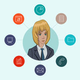 Favorite tools for working managers and business. Infographic about office work - cloud computing and sharing documents Royalty Free Stock Photos