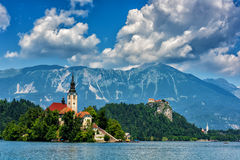 Favorite tourist destination - alpine lake Bled in Slovenia Royalty Free Stock Photography