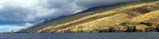 Favorite whale-watching spot on the coast of Maui in Hawaii. Panorama of Papawai Point, a popular whale-watching spot on Maalaea Bay on the northwest coast of royalty free stock photos