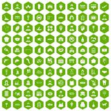 100 favorite work icons hexagon green. 100 favorite work icons set in green hexagon isolated vector illustration stock illustration