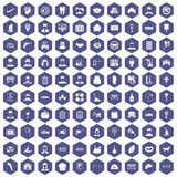 100 favorite work icons hexagon purple Stock Photography