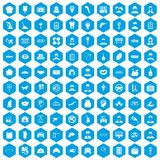 100 favorite work icons set blue. 100 favorite work icons set in blue hexagon isolated vector illustration Stock Photography